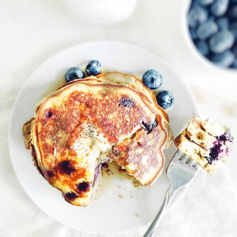 Fluffy Coconut Flour Blueberry Pancakes via Simply Taylor
