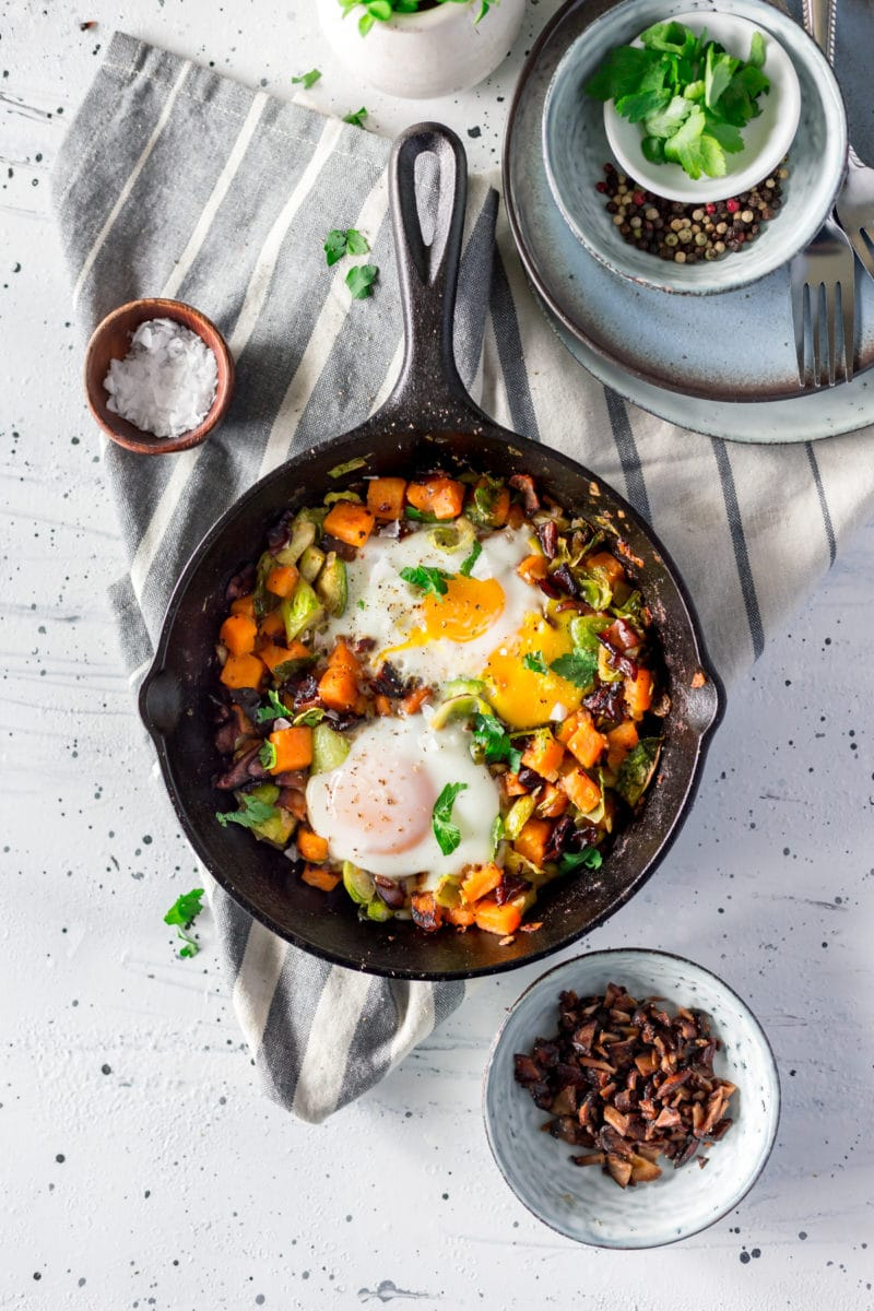 Paleo Sweet Potato Hash with Brussels Sprouts and Shiitake Bacon
