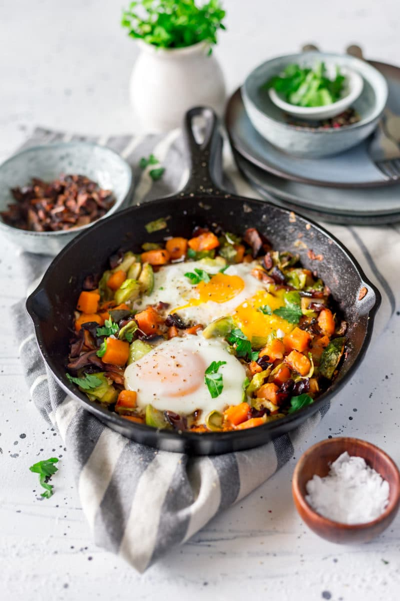 Paleo Sweet Potato Hash with Brussels Sprouts and Shiitake Bacon Recipe