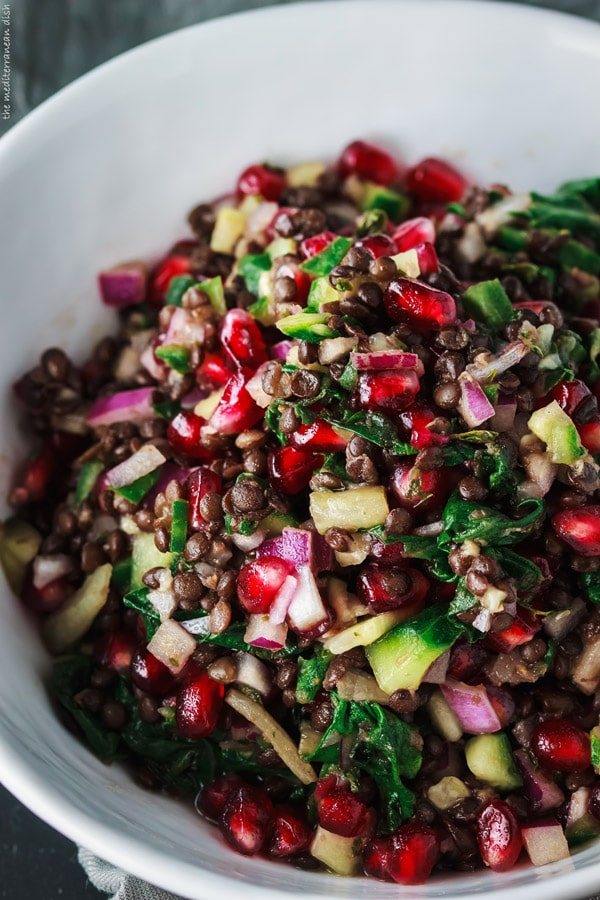 Brown Lentil Salad with Pomegranate and Swiss Chard via The Mediterranean Dish