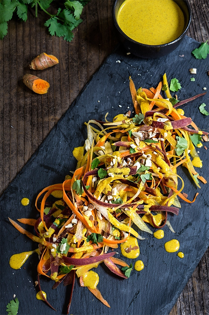 Carrot Almond Salad with Turmeric Dressing via Viktoria's Table