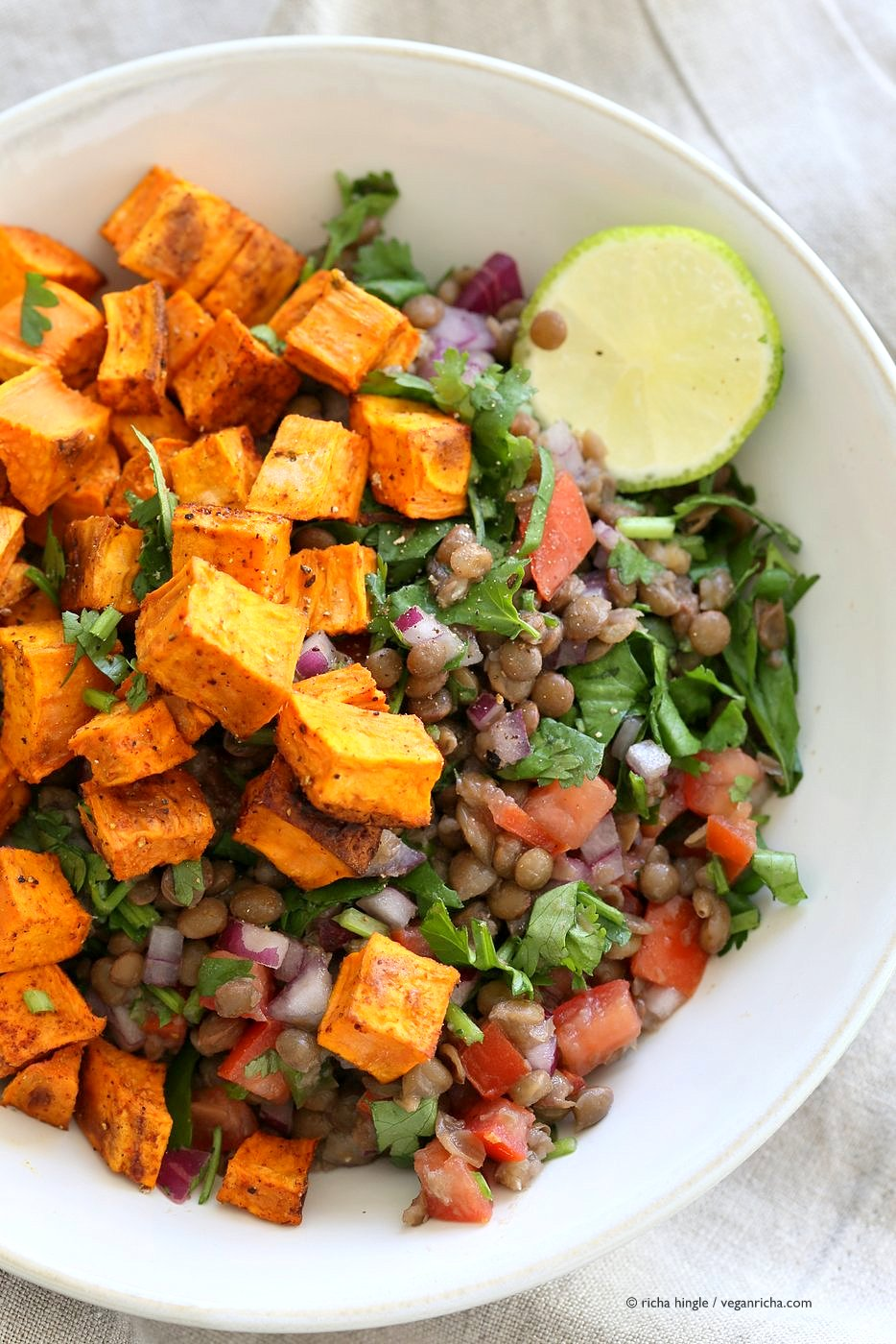Curried Sweet Potato Lentil Salad via Vegan Richa