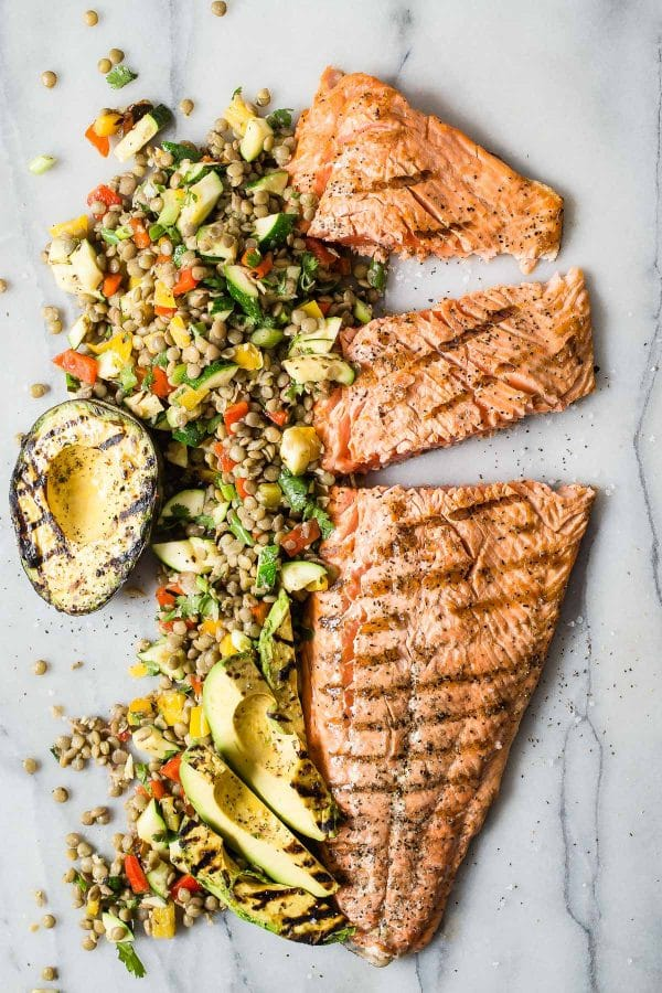 Green Lentil and Grilled Vegetable Salad via Foodness Gracious