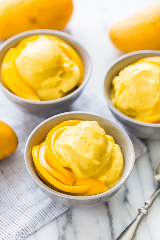 10-Minute Soft Serve Mango Ice Cream via Get Inspired Everyday